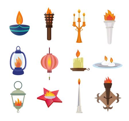 candela: Candele stile piatto e la raccolta di vettore fiamme. Candele vettore silhouette isolato su sfondo shite. Flame parete, fiamma della memoria stella, lampada fiamma strada, Diwali festival candela. Icone vettoriali Candela