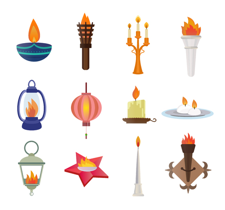 birthday candle: Flat style candles and flames vector collection. Candles vector silhouette isolated on shite background. Wall flame, star memory flame, street flame lamp, diwali festival candle. Candle vector icons Illustration