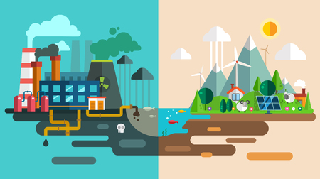 paneles solares: Eco verde de la ciudad dado el concepto de ecología. Vectores