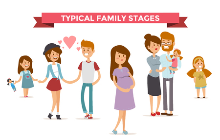 Klein meisje, volwassen jongen en meisje paar, zwangere vrouwen in de liefde, moderne gezin en gezinnen met baby kind. Moderne gezin stages. Typische familie. Mensen Paren, mensen familie geïsoleerd vector. Mensen samen begrip Stock Illustratie