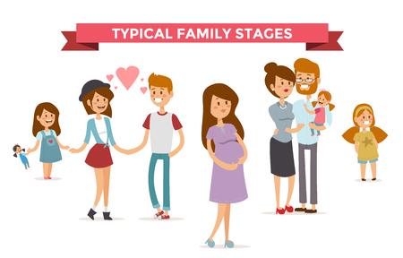 embarazada feliz: Pequeña niña, niño y niña de adultos pareja, las mujeres embarazadas en el amor, la familia moderna y las familias con niño bebé. Etapas familia moderna. Familia típica. Gente parejas, personas de la familia aislados del vector. Gente juntos concepto