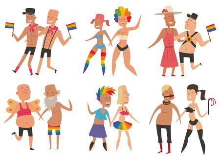 gay: Homosexual gay and lesbian people vector set. Illustration