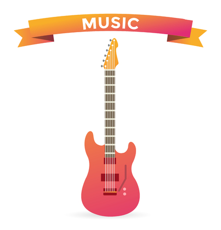 electric guitars: Acoustic and electric guitars vector icon.