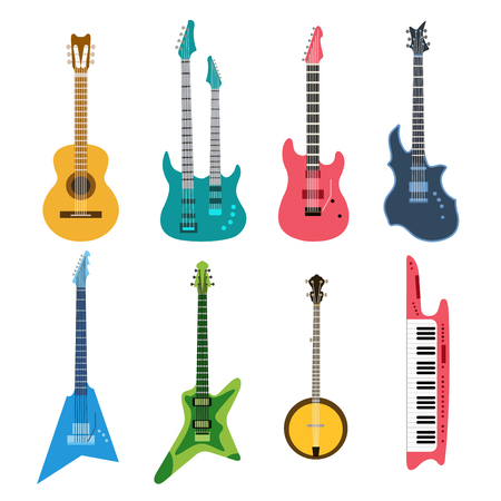 Acoustic and electric guitars vector icons set.