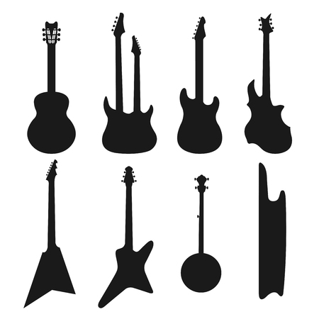 electric guitar: Acoustic, and electric guitars black and white icons vector set. Illustration
