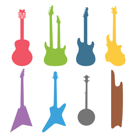 guitar: Acoustic and electric guitars vector icons set.