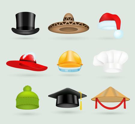 hombre con sombrero: Conjunto de sombreros de copa 3d diferentes profesiones.