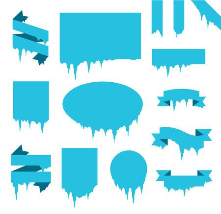 sopel lodu: Kolekcja mrożonych sopel zima śnieg wektor banner.