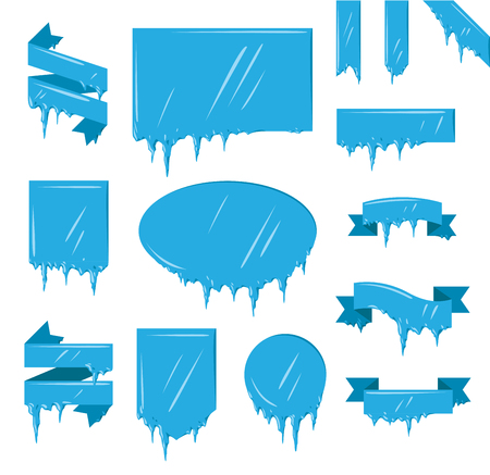 Collection of frozen icicle snow winter vector banner.  Çizim