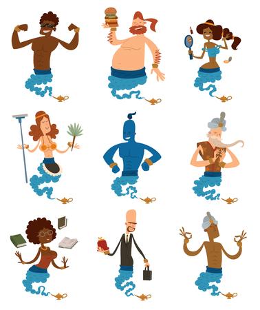 chef caricatura: personas de apoyo genio de dibujos animados que salen de una lámpara mágica. Vectores