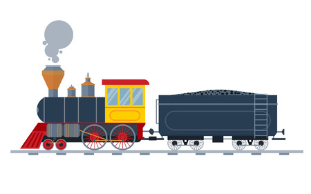 trains: Old vintage retro transportation train vector collection.  Illustration