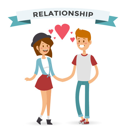 donna innamorata: Ragazzo e ragazza felice coppia famiglia nell'amore donne e gli uomini in amore, famiglia moderna. Vettoriali