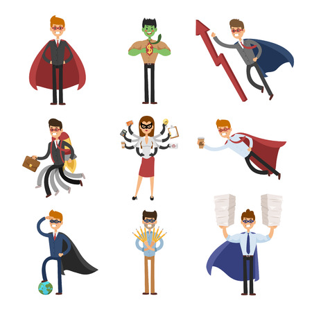 young businessman: Superhero business man and business woman  Illustration