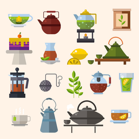 green tea leaf: Tea ceremony vector concept illustration.