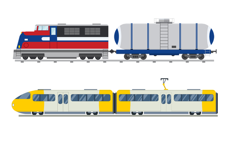 trains: Passenger and transportation trains vector collection.