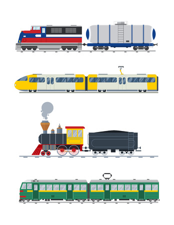 cargo train: Modern and vintage trains vector collection.