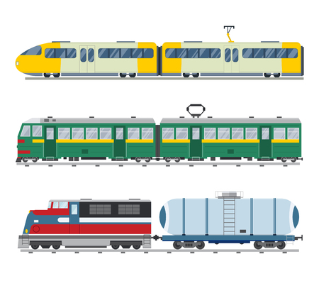 train: Modern and vintage trains vector collection. Trains vector illustration on white background. Trains icons or silhouette isolated on white. Old and modern trains vector on railway. Travle by trains