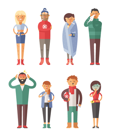 hot and cold: People ill vector illustration. S