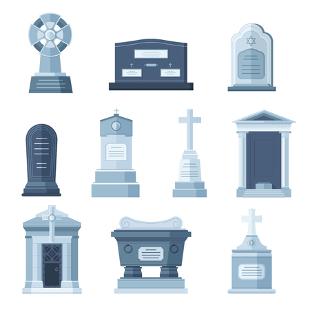 funeral: Tombs stone grave vector construction set.