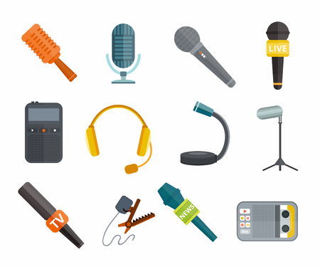 press news: Different microphones types vector icons. Journalist microphone, interview microphone, music studio microphone. Web broadcasting microphone, vocal microphone, tv show microphone. Microphones icons isolated white background Illustration