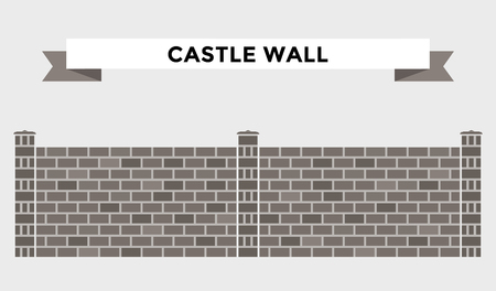 Stone bricks fence isolated on white background. Castle house wall stone fence vector illustration. Castle wall railing vector isolated. Stone bricks fence, home fence, vector fence. House fence