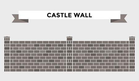 Stone bricks fence isolated on white background. Castle house wall stone fence vector illustration. Castle wall railing vector isolated. Stone bricks fence, home fence, vector fence. House fence