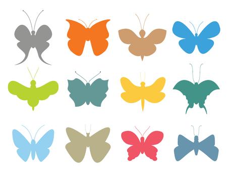 rosa negra: mariposas de colores de vectores de recogida de estilo plano. Conjunto de la mariposa del vector. Mariposa de colores diferentes tipos. Silueta de la mariposa aislada en el fondo blanco. Mariposa azul, mariposa de colores Vectores