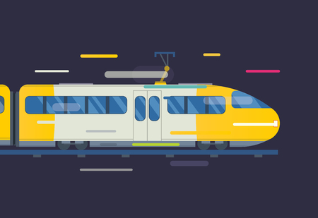 intercity: Passenger and transportation trains vector collection. Trains vector illustration on white background. Trains silhouette isolated on white. Passenger and cargo trains vector on railway. Travel train