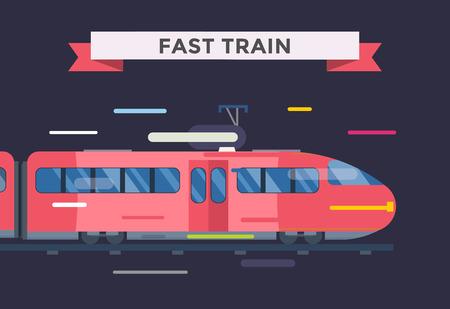 treno espresso: i treni di trasporto passeggeri e vettore di raccolta. Treni illustrazione vettoriale su sfondo bianco. Treni silhouette isolato su bianco. Passeggeri e merci treni di vettore su ferrovia. viaggi in treno Vettoriali