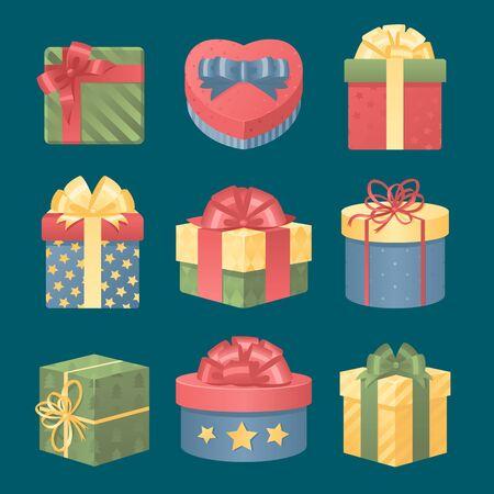 활과 리본 벡터 세트와 화려한 3D 선물 상자입니다. 선물 상자 벡터 일러스트 레이 션입니다. 벡터 크리스마스 선물 상자를 설정합니다. 크리스마스 상