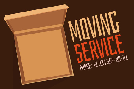 home moving: Move service box open vector advertisment banner. Move open box. Craft box banner with phone. Box for moving, open box. Move business, moving box, relocation box. Transportation package cargo service
