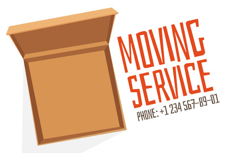 moving office: Move service box open vector advertisment banner. Move open box. Craft box banner with phone. Box for moving, open box. Move business, moving box, relocation box. Transportation package cargo service