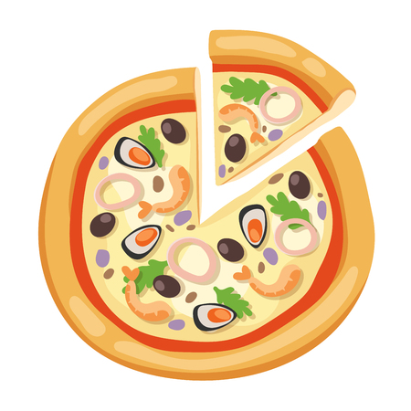 margherita: Pizza flat icons isolated on white background. Pizza food silhouette. Pizza piece, pizza slice. Pizza menu illustration isolated. Pizza vector collection isolated on white. Different pizza Illustration