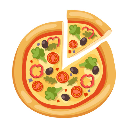 tomato slices: Pizza flat icons isolated on white background. Pizza food silhouette. Pizza piece, pizza slice. Pizza menu illustration isolated. Pizza vector collection isolated on white. Different pizza Illustration
