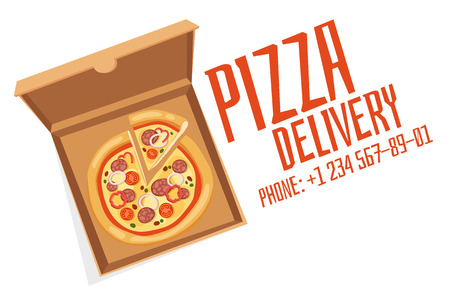 advertisment: Pizza box vector advertisment babber. Pizza box delivery service. Craft pizza box isolated on background. Box for pizza, pizza delivary service. Pizza delivery business, food box, pizza box. Delivery pizza banner
