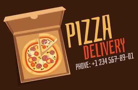 pizza box: caja de la pizza del vector anuncio babber. Pizza de servicio de entrega de la caja. caja de pizza artesanal aislado en el fondo. Caja para pizza, servicio delivary pizza. negocio de la pizza entrega, caja de alimentos, caja de pizza. Entrega de la bandera de pizza