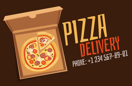 empty box: Pizza box vector advertisment babber. Pizza box delivery service. Craft pizza box isolated on background. Box for pizza, pizza delivary service. Pizza delivery business, food box, pizza box. Delivery pizza banner