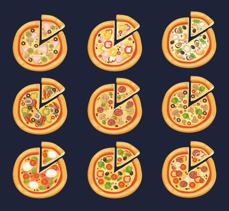 Pizza flat icons isolated on white background. Pizza food silhouette. Pizza piece, pizza slice. Pizza menu illustration isolated. Pizza vector collection isolated on white. Different pizza Illustration
