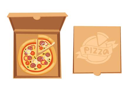 pizza box: Pizza ilustración vectorial cuadro. Servicio de entrega de caja de pizza. Caja de pizza artesanal aislado en el fondo. Caja para pizza, caja de pizza. Dueño de Pizza entrega, caja de comida, caja de pizza. Paquete de pizza Entrega