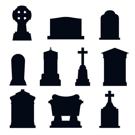 persone nere: Tombe di pietra tomba della costruzione del vettore in bianco e icone bianche. Vector tombe icone isolato. Tombe lapide per i morti. pietra tombe tradizionale tombe paese differente. illustrazione tombe