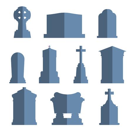 tumbas: Establece piedra Tumbas construcción tumba vector. Vector tumbas iconos aislados sobre fondo blanco. Tumbas piedra grave para las personas muertas. Piedra tradicional tumbas tumbas de diferentes países. Tumbas ilustración