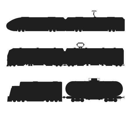 Los trenes modernos y cosecha de vector iconos de color blanco negro y la silueta. Trenes ilustración vectorial silueta. Capacita a los iconos de la silueta aislado en blanco. Viejo y trenes modernos del vector en el tren. Viaje por los trenes Ilustración de vector