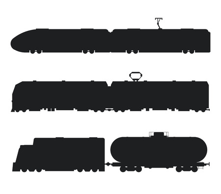 Moderne en klassieke treinen vector zwart-wit pictogrammen silhouet. Treinen vector illustratie silhouet. Treinen pictogrammen silhouet geïsoleerd op wit. Oude en moderne treinen vector op spoorweg. Reizen met de trein Vector Illustratie