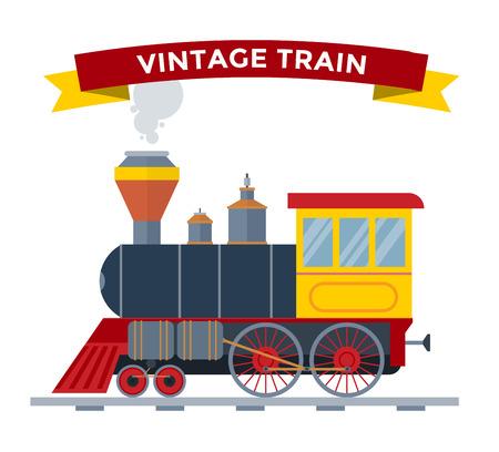 tren: retro transporte vector de recogida de tren de �poca antigua. Trenes ilustraci�n vectorial sobre fondo blanco. Los trenes de la silueta blanco aislado. tren de transporte vector de carga de ferrocarril retro viejo de la vendimia