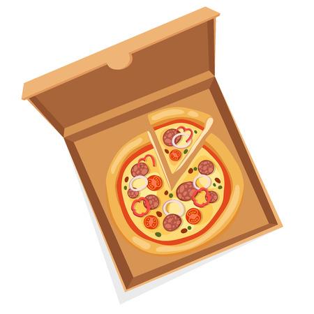 caja de pizza: Pizza ilustraci�n vectorial cuadro. Servicio de entrega de caja de pizza. Caja de pizza artesanal aislado en el fondo. Caja para pizza, caja de pizza. Due�o de Pizza entrega, caja de comida, caja de pizza. Paquete de pizza Entrega