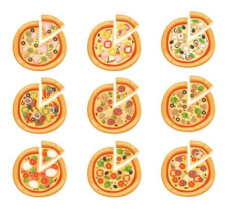 pizza: Iconos planos pizza aisladas sobre fondo blanco. Pizza silueta alimentos. Pedazo de pizza, rebanada de pizza. Aislado men� de pizza ilustraci�n. Vector de recogida de pizza aislados en blanco. Diferente de pizza