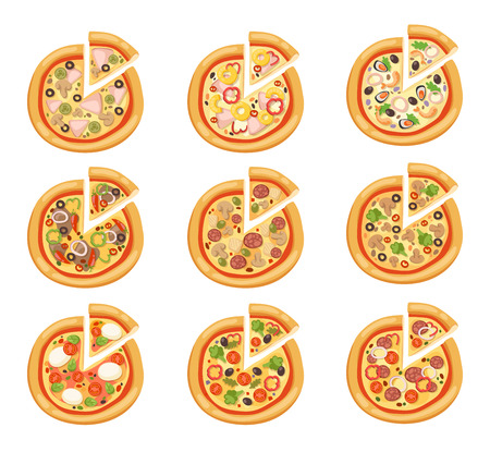Pizza flat icons isolated on white background. Pizza food silhouette. Pizza piece, pizza slice. Pizza menu illustration isolated. Pizza vector collection isolated on white. Different pizza Ilustração