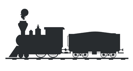 old train: Old vintage retro transportation train vector black and white silhouette. Old train vector illustration on white background. Train silhouette isolated. Old vintage retro train cargo vector travel