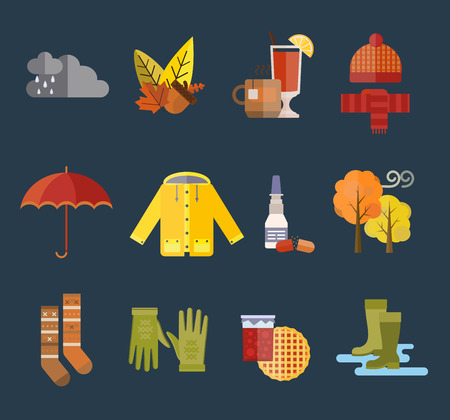 rain coat: Collection of autumn clothes items. Clothes related to autumn and winter. Clothes autumn, winter clothes. Acorns, leaves trees autumn, rain clouds. Bad autumn cold weather clothes. Red, yellow colors