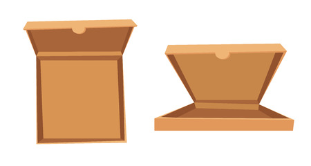 caja de pizza: Abrir la pizza ilustraci�n vectorial cuadro. Servicio de entrega de caja de pizza. Caja de pizza artesanal aislado en el fondo. Caja para pizza, caja de pizza libre. Due�o de Pizza entrega, caja de comida, caja de pizza. Paquete de pizza Entrega
